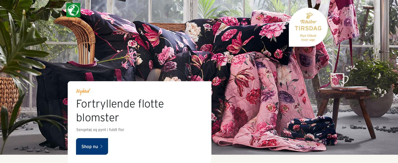Sengetøj og pynt i fuldt flor