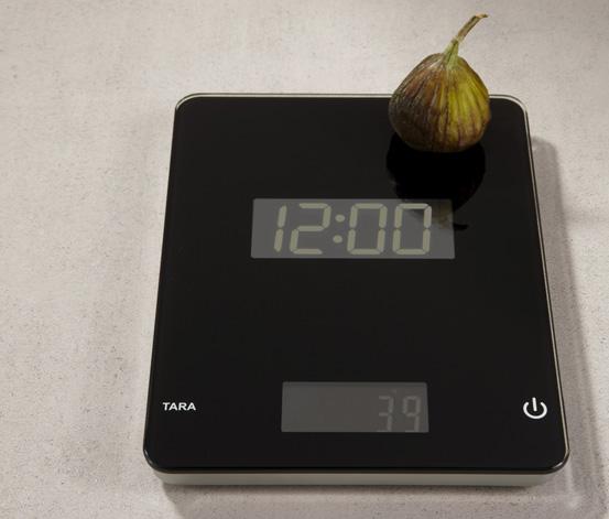 Digitale Küchenwaage mit Uhr