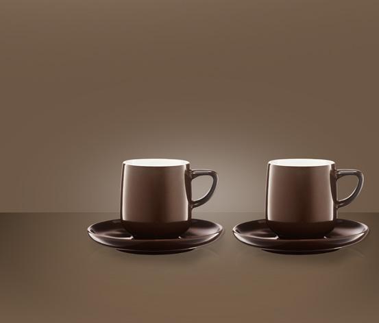 Zestaw 2 filiżanek do espresso, brązowo-biały
