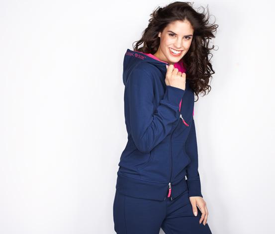 Damen-Homewear-Jacke, Blau mit Pink