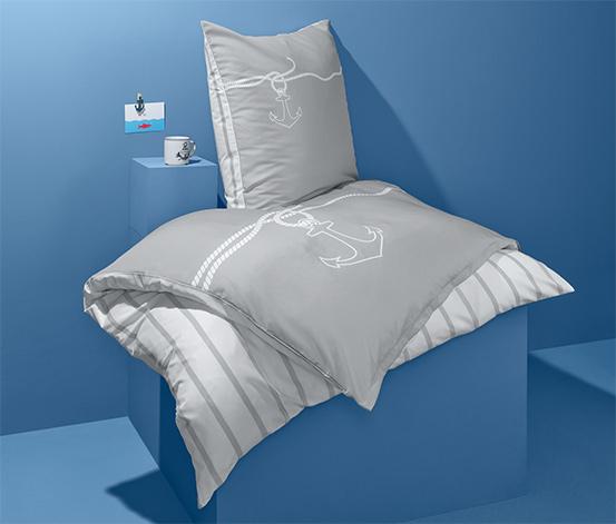 Kétoldalas mikroszálas ágynemű, szürke, horgonyos, egyszemélyes