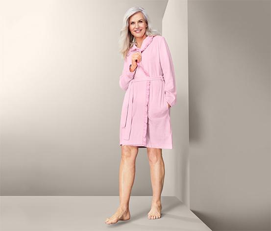 Szlafrok damski z tkaniny frotté, różowy