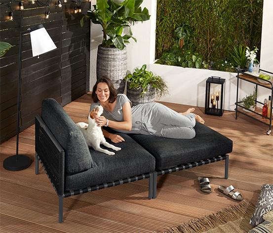 Duży, ogrodowy fotel z podnóżkiem