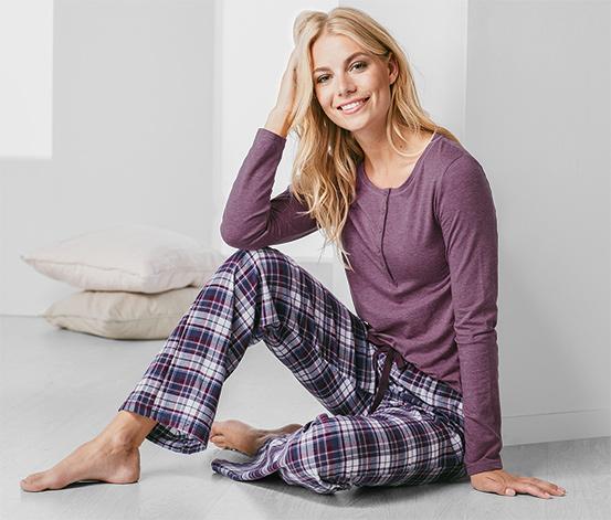 Női pizsama, flanel alsóval, kockás