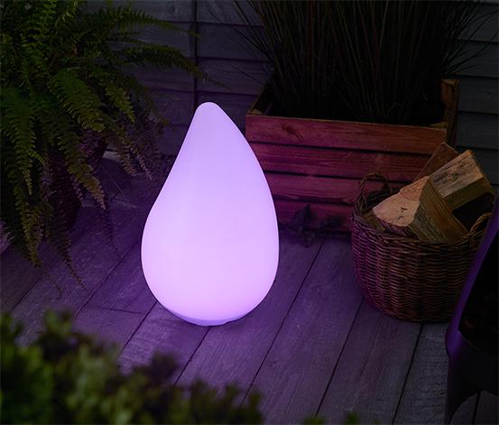 Solární venkovní svítidlo ve tvaru kapky, s LED přechodem barev
