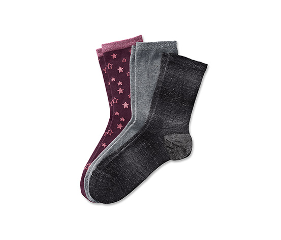 Ponožky s efektnou priadzou, 3 páry