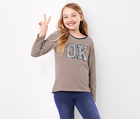 Tričko s dlhým rukávom a obojstrannými flitrami