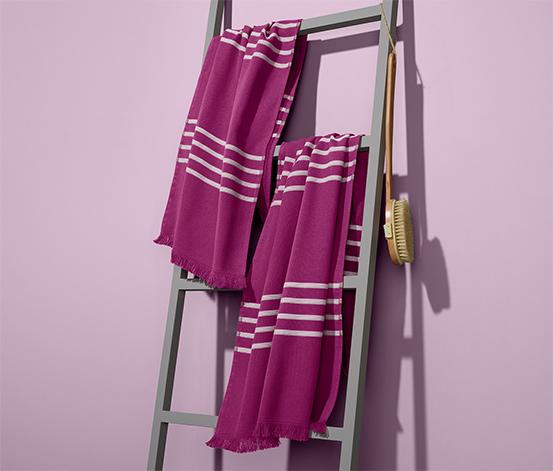 Zestaw 2 jagodowych ręczników hammam z frędzlami 50x100 cm