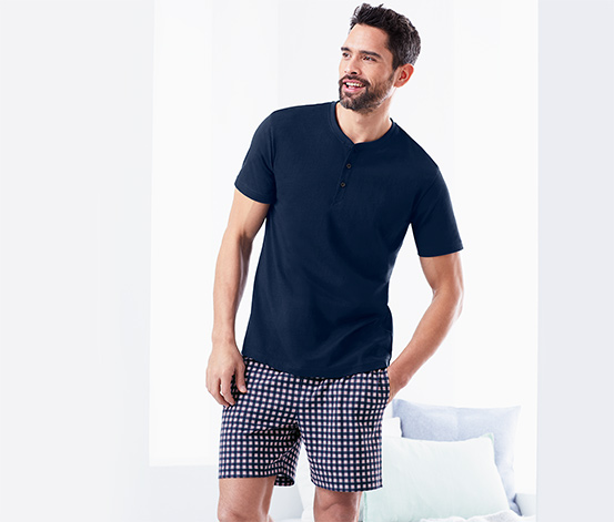 Férfi rövidnadrágos pizsama, kockás
