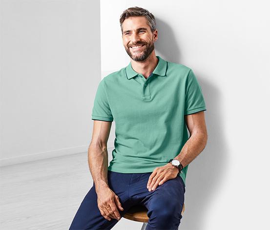 Férfi piké pólóing gallérral, zöld