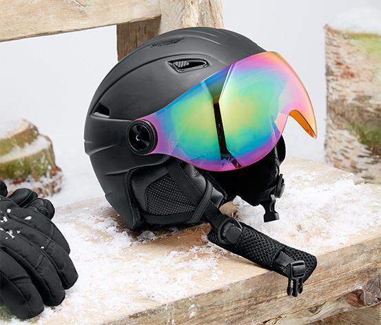 Hardshellová lyžařská a snowboardová helma se štítkem proti slunci