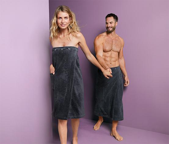 Antracytowy kilt frotté do sauny, unisex