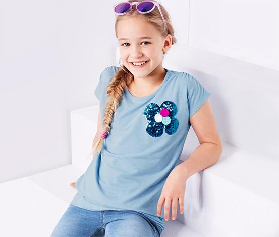 Lányka póló flitterekkel, világoskék