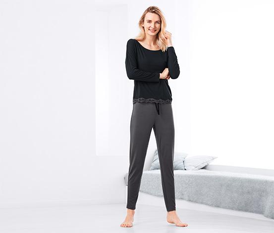 Siyah Gri Dantelli Pijama Takımı