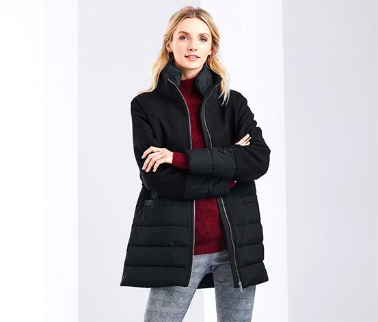 Outdoorový kabát zo zmesi materiálov