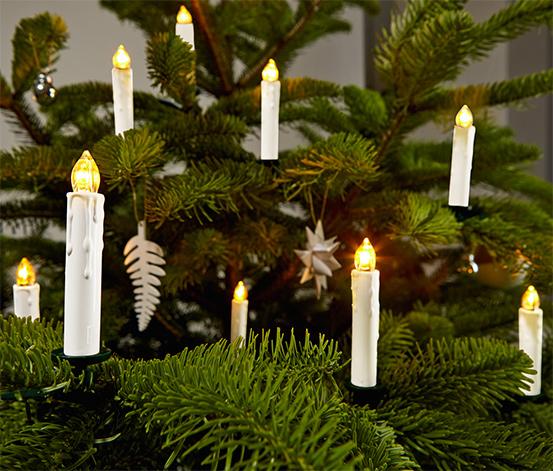 Sviečky s LED na vianočný stromček, 10 ks