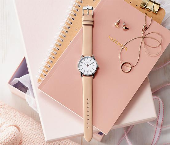 Bej Deri Kayışlı Kadın Saati