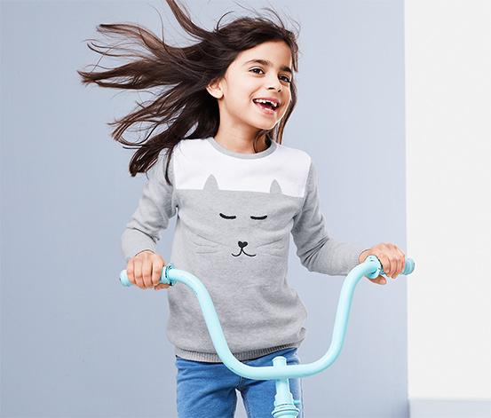 Gyerek kötött pulóver, cicás