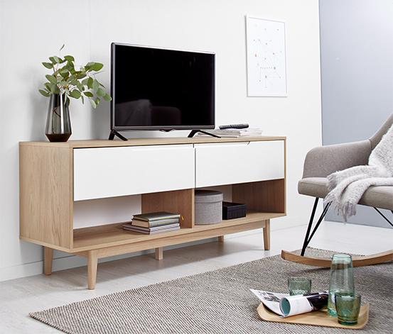 Eichenfurniertes TV-Lowboard mit matt weiß lackierten Schubladen