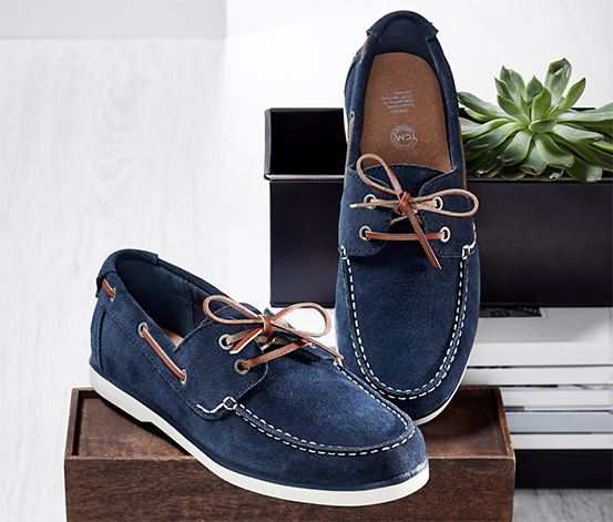 Férfi velúrbőr vitorlás cipő, sötétkék
