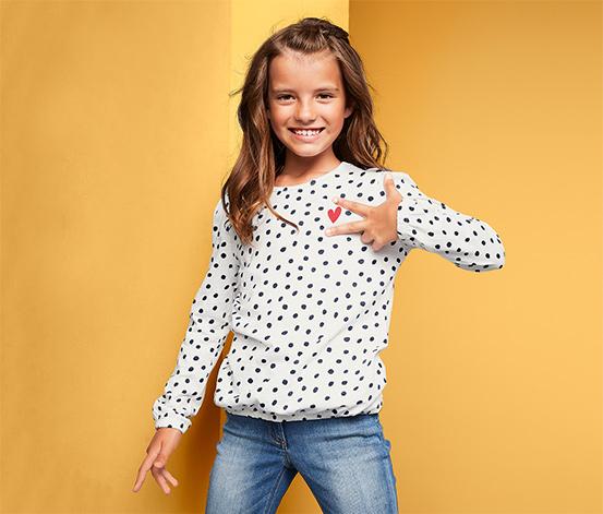 Koszulka dziewczęca w kropki z długim rękawem