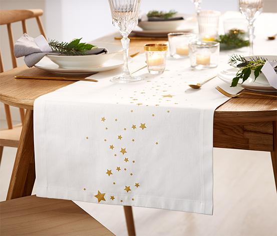 Asztali futó, arany csillagmintával