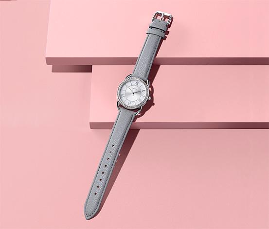 Zegarek damski na skórzanym pasku w kolorze szarym
