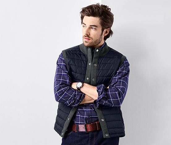 Pletená vesta s prošíváním
