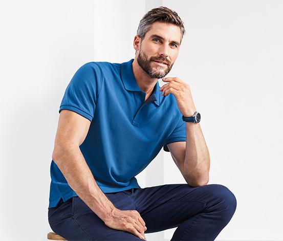Férfi piké pólóing gallérral, kék