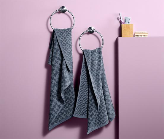Zestaw 2 żakardowych ręczników 50x100 cm, antracytowy