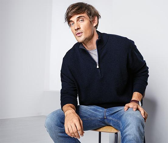 Férfi állónyakú pulóver, gyapjúval, kék