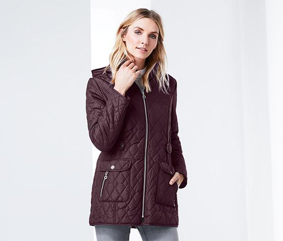 Női steppelt kabát, bordó