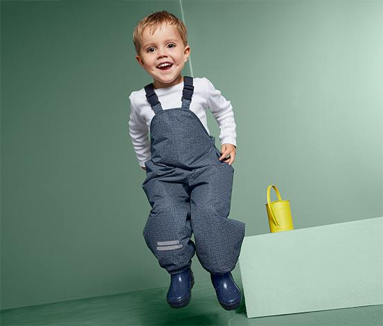 Spodnie dziecięce przeciwdeszczowe, stylizowane na dżins