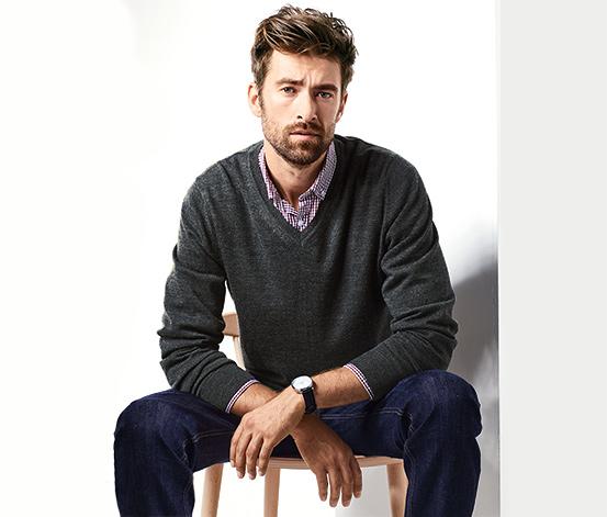 Férfi merino-pulóver