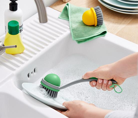 2-i-1 opvaskebørste med udskifteligt børstehoved