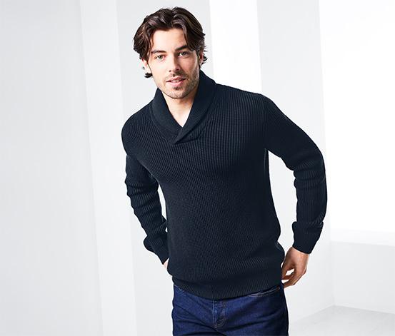 Férfi kötött pulóver, sálgalléros, kék