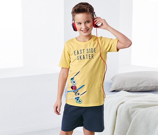 Sarı Lacivert Organik Pamuklu Kısa Pijama Takımı