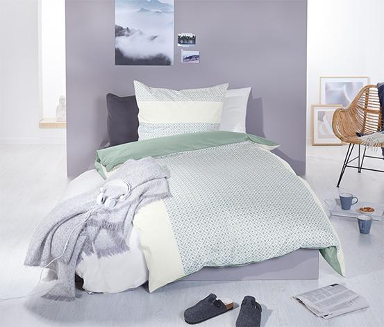 Kétoldalas perkál ágynemű, zöld, kétszemélyes