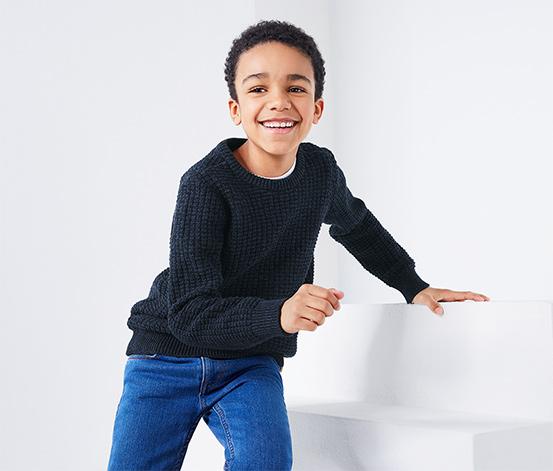 Fiú kötött pulóver, kék