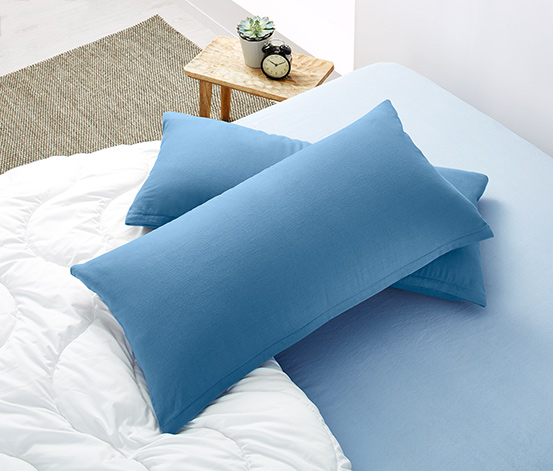Flanelové obliečky na vankúš, 2 ks, každá cca 80 x 40, modré