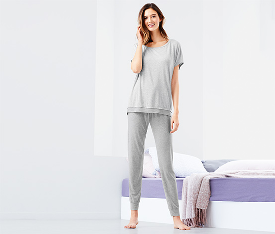 Női pizsama, hosszú, szürke