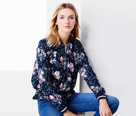 Lacivert Çiçek Desenli Ceket