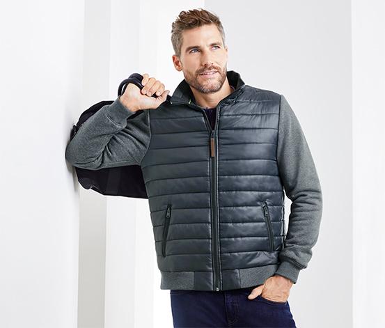Férfi steppelt dzseki, kék és szürke
