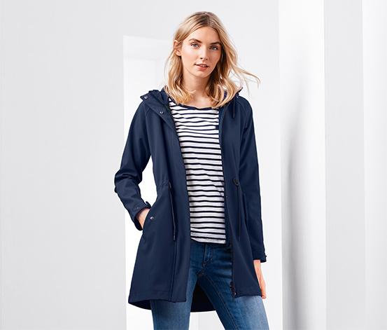 Kapucnis softshell kabát, kék