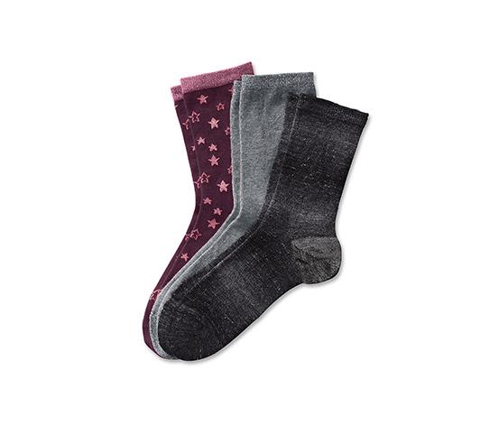 3 pár női csillogó zokni szettben, mintás