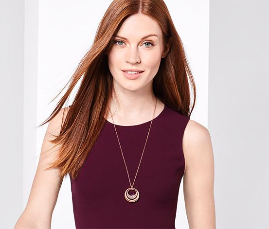 Női nyaklánc, Swarovski kristályokkal, rosegold