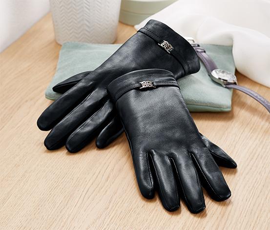 Gants en cuir avec élément décoratif