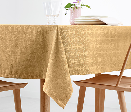 Jaquard asztalterítő, 10 személyes, arany