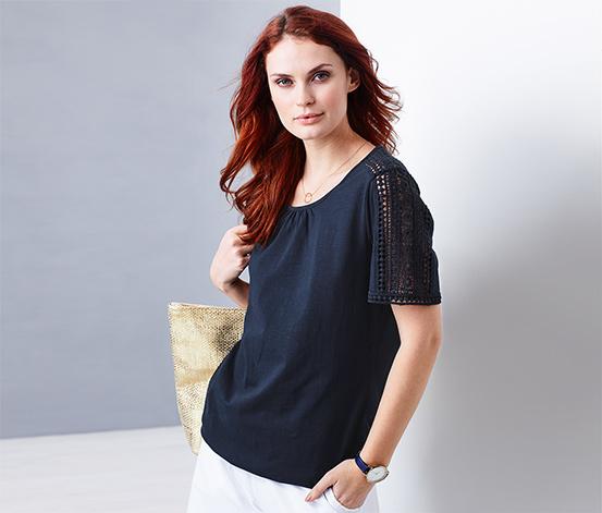 Tričko s lemem v háčkovaném vzhledu