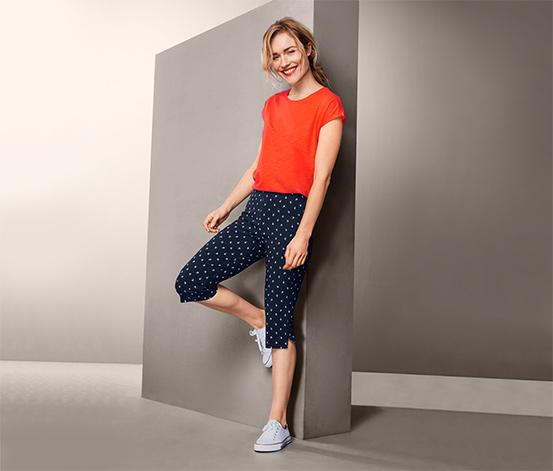 Trojštvrťové elastické nohavice s potlačou